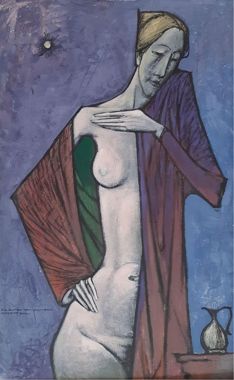Eza Szymczuk Nude Painting - Nude - XX Century, Contemporary Figurative Own Technique on Board Painting