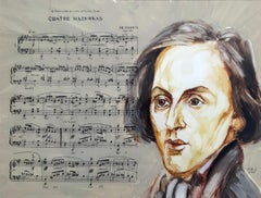 Frederick Chopin's Mazurka - Contemporary Portrait Painting, Music & notes