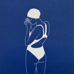 Swimmer I - Monochromatic Figurative Linocut Print, Woman, Blue