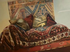 Sigimund Freud's couch - Contemporary figurative oil painting, warm tones