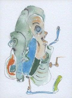 Composition (Watercolour) -  Contemporary surrealist artist, Vibrant colors