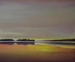 Landscape with a rainbow - Contemporary figurative oil painting, Warm tones