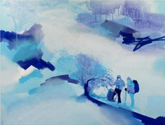 Wandering - Contemporary figurative acrylic painting, Winter landscape