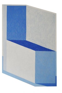 A podium - XXI century, Young artist, Geometrical abstraction painting, Blue