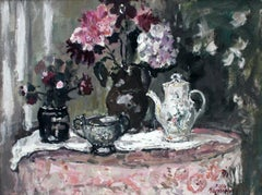 Still Life with a Bucket- Oil Painting, Florwers, Figurative, Post-Impressionist