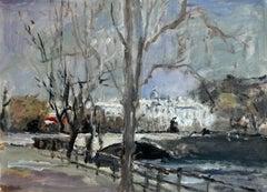The Bridge- Oil Painting, Figurative, Post-Impressionist