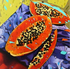 Papayas 05 - XXI century, Oil still life painting, Fruits, Vivid colours