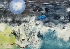 Blue moon - XX century, Mixed media print, Figurative, Nude
