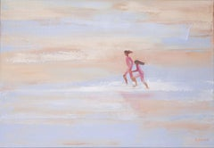 Summertime 40 - XXI century, Oil figurative on canvas, Beach, Ocean, Blue