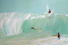 On the wave II - XXI century, Oil on canvas, Figurative painting, Ocean, Blue