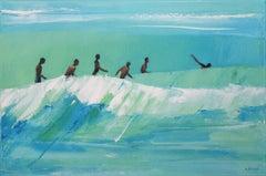 Summertime 34 - XXI century, Oil on canvas, Figurative painting, Ocean, Blue