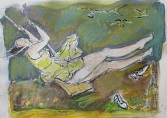 On a swing - XXI century, Figurative drawing, Gouache, Mixed media