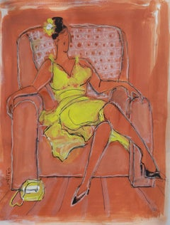 Woman in a yellow dress - XXI century, Figurative drawing, Gouache, Mixed media