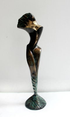 Wing - XXI century, Bronze sculpture, Abstract-figurative, Gold and metal