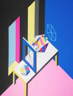Studio - XXI century, Acrylic painting, Geometrical abstraction, Interior