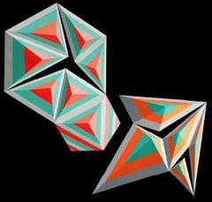 9 + 6 Arrow (Diptych) - XXI century, Painting, Geometrical abstraction, Vivid