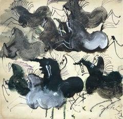 Velvet horses - Contemporary art, Figurative drawing, Animals, Classics
