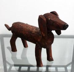 Dachshund - Contemporary art, Figurative wooden sculpture, Animals, Classics