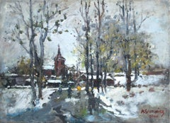 Early spring landscape - Oil Painting,  Figurative, Post-Impressionist, Grey