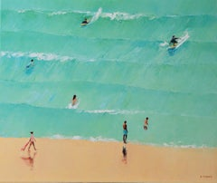 Summertime 43 - XXI century, Oil on canvas, Figurative painting, Ocean, Blue