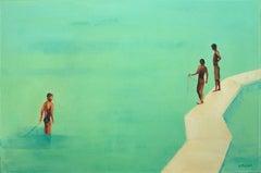 Summertime 32 - XXI century, Oil on canvas, Figurative painting, Ocean, Blue