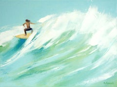 Surfers 12-  XXI century, Oil on canvas, Figurative painting, Ocean, Blue