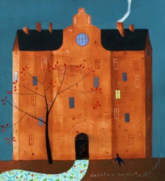 A spectacular entry - XXI Century Goache Painting, Architecture View, Figurative