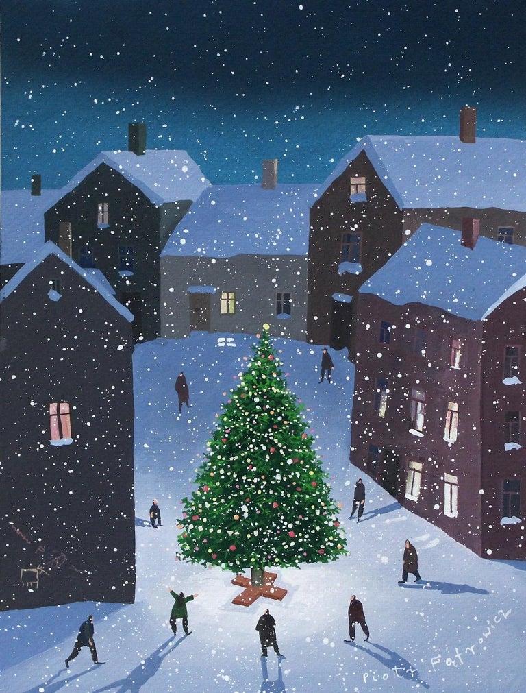 Piotr Fąfrowicz Figurative Painting - Christmas Tree - XXI Century Contemporary Figurative Gouache Painting, Landscape