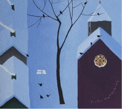 Winter. A window - XXI Century, Landscape Gouache Painting, Blue, Winter Scene