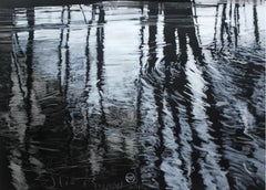 Pond VI- XXI Century,Contemporary Own Technique Painting Black & White Landscape