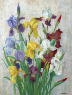 Flowers - XX Century, Still-life Oil Painting, Colorful, Bright Colors