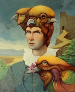 Taming of a chatterer - XX Century, Figurative Acrylic Painting, Surrealistic