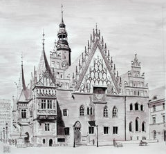 Wroclaw - Contemporary Watercolor & Ink Landscape Painting, Architecture