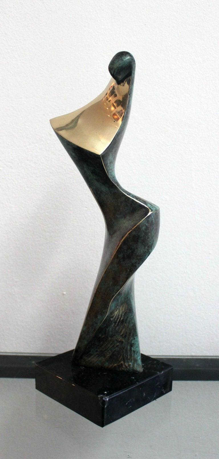 Dame - XXI Century, Contemporary Bronze Sculpture, Figurative, Nude, Abstraction - Gold Nude Sculpture by Stanisław Wysocki
