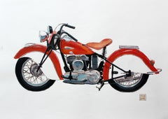 Motorcycle - XXI Century, Contemporary Watercolor & Ink Painting, Realistic