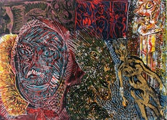 Janusz's family - XX Century, Colorful Figurative Abstract Linocut