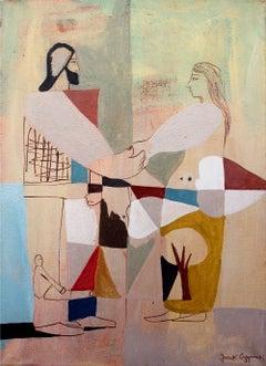 Lovers conversation - XXI Century, Contemporary Figurative Acrylic Painting