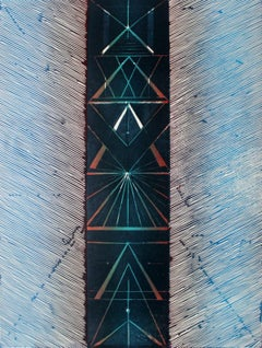 Signs II - XX Century, Colorful Woodcut, Abstract Print, Geometrical Shapes