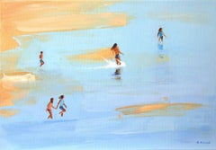 Summertime 47- XXI century, Oil on canvas, Figurative painting, Beach, Blue, Sea