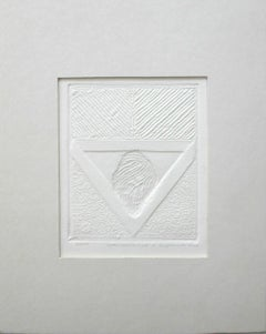A sign - XXI Century Contemporary Woodcut , Abstract Print, Monochromatic Relief