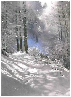 A Winter Path- Contemporary Watercolour, Winter, Painting, Snow