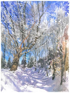 A Winter Veiw ( Buczyna Karpacka) - Contemporary Watercolour, Winter, Painting