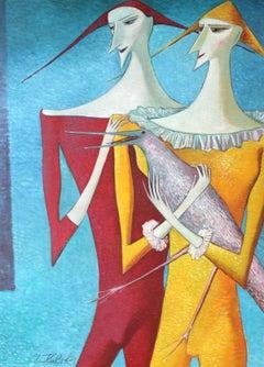 Alex - XX Century, Figurative Oil Painting, Portait, Animal, Bright Colors