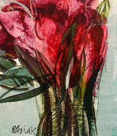 Tulips - XXI century, Oil & Acrylic Painting, Abstract, Figurative, Flowers