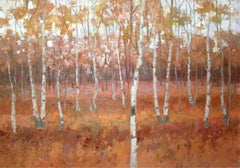 Landscape - XXI century, Contemporary Oil Painting, Warm Tones, Woods