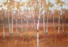 Landscape - XXI century, Contemporary Oil Painting, Warm Tones, Woods