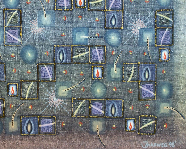 Untitled - XX Century, Geometrical Abstract Oil Painting, Mosaic, Muted Colors For Sale 2