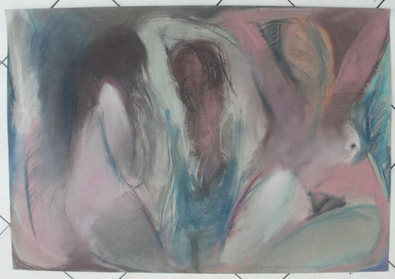 Nudes - XX Century, Contemporary Figurative Pastel Drawing, Muted Colors - Art by Radlinska