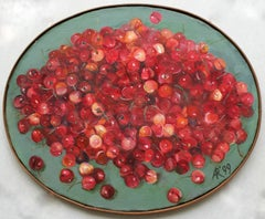 Cherries - XX Century, Contemporary Still Life Oil Oval Painting, Bright Colors