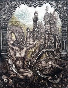 Awakening - XX Century, Figurative Etching Print, Nude, Landscape, Fantasy